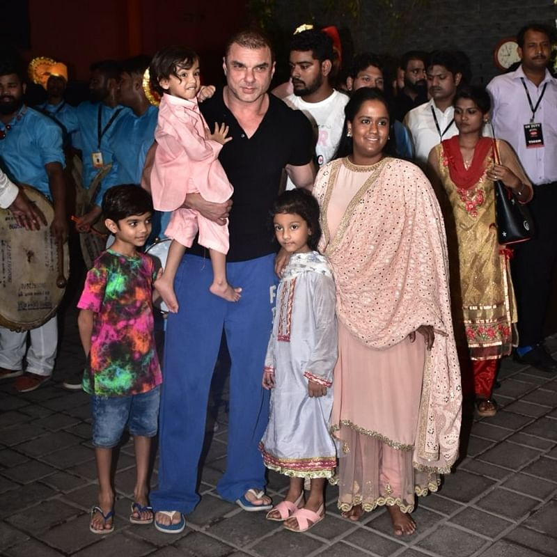 Sohail Khan, Ahil and Arpita Khan Sharma. Photo by Viral Bhayani
