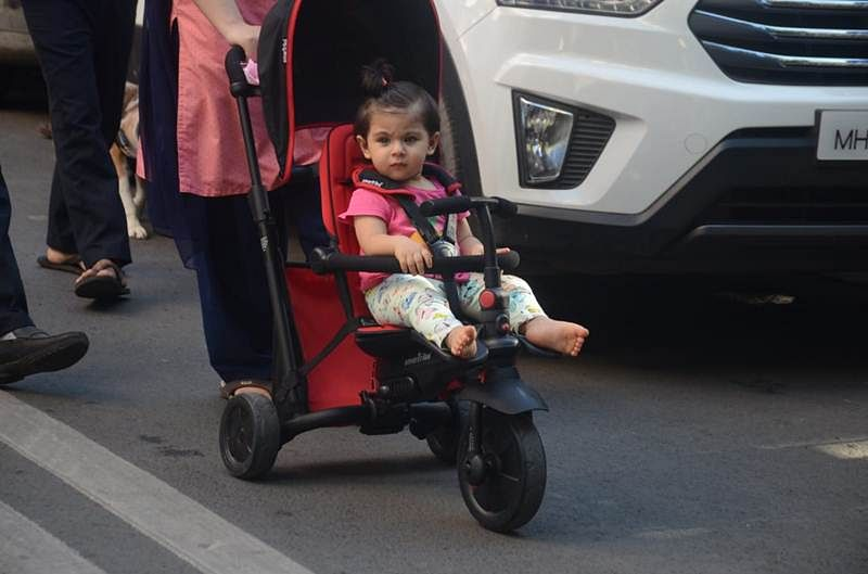 In Pictures! Babies day out: Taimur snapped outside playschool, while Inaaya is out for a stroll in her pram