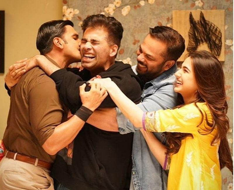 Karan Johar receives 'bone crushing' love on the sets of 'Simmba'; see pic