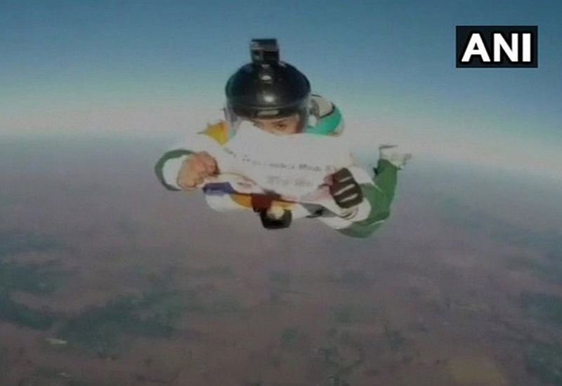 High La! Skydiver jumps from 13,000 feet to wish PM Narendra Modi on his birthday