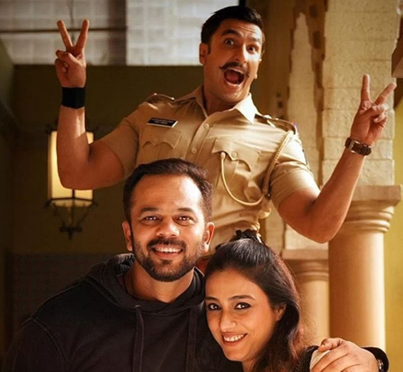 Cops Collide! Tabu surprises 'Simmba' Ranveer Singh and director Rohit Shetty on set; see pics