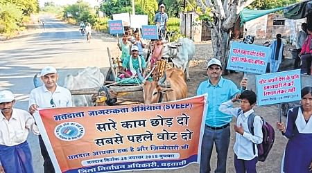 MP Assembly Elections 2018: Unique bullock cart rally and race organised under SVEEP programme