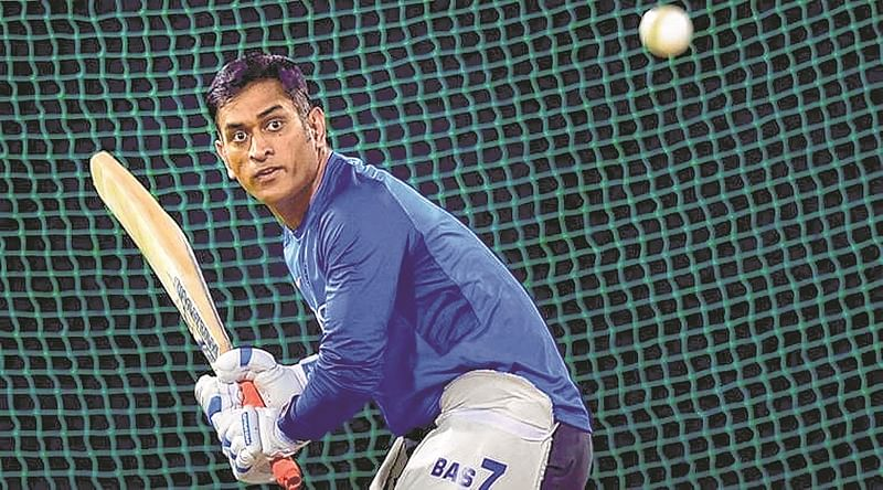 Dhoni slogs it out in the nets