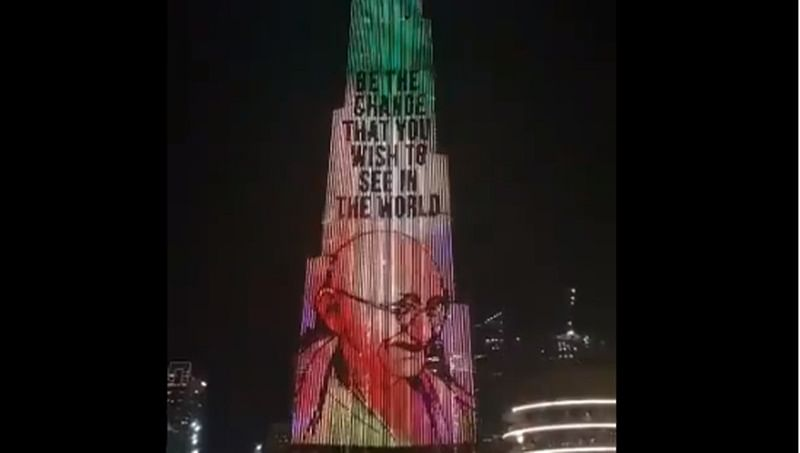 Burj Khalifa in Dubai lit up with Bapu's image on Gandhi Jayanti
