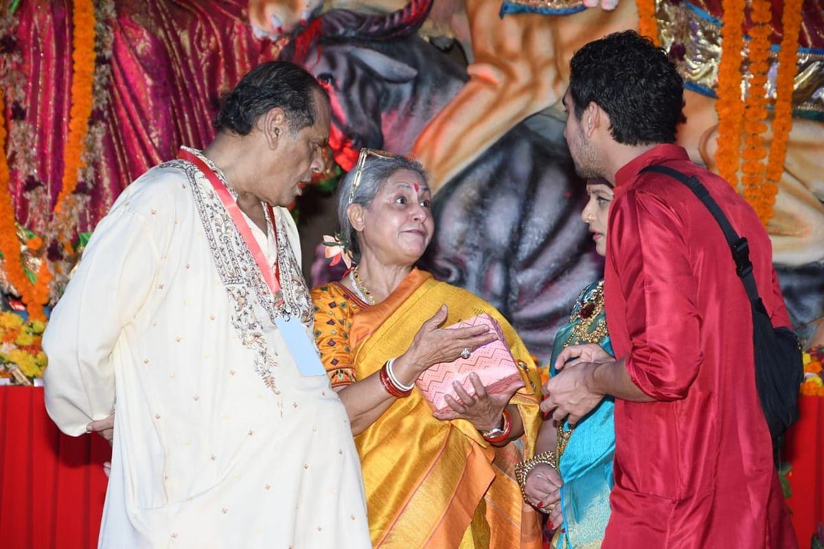 Jaya Bachchan with Ayan Mukerji at Durga pandal. Photo by Viral Bhayani