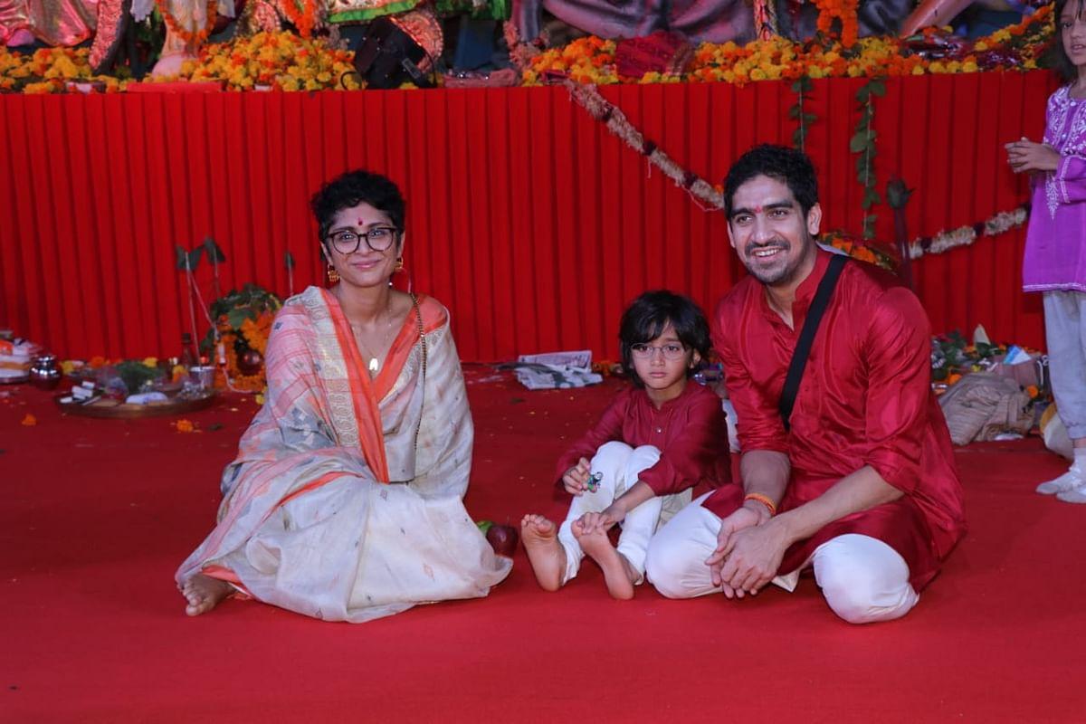Koran Raon with son Azad and Ayan Mukerji at Durga pandal. Photo by Viral Bhayani