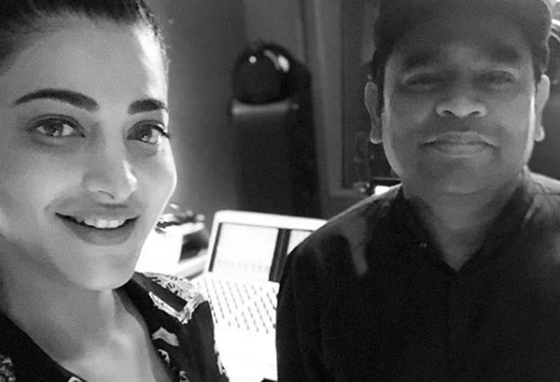 Shruti Haasan meets musician AR Rahman at his LA studio