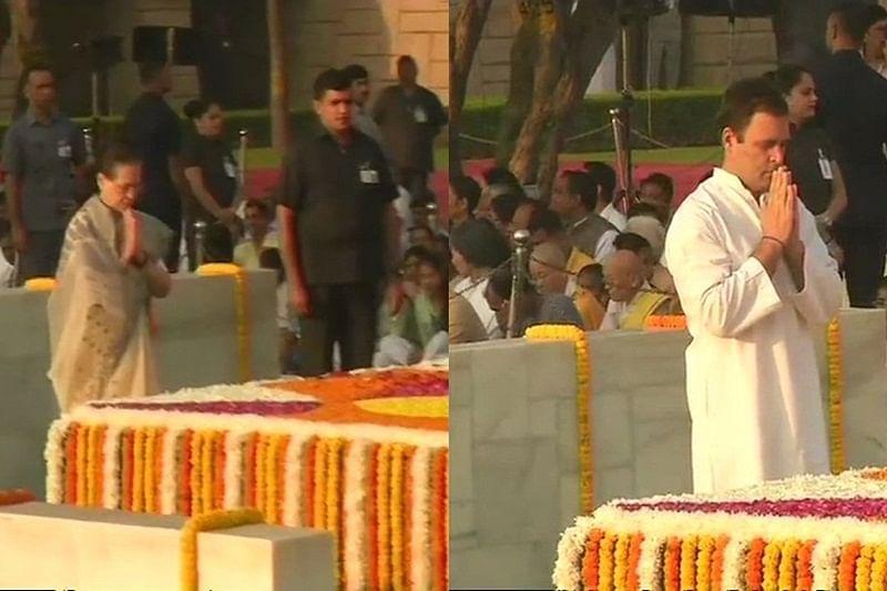 Sonia, Rahul Gandhi pay tribute to Mahatma Gandhi at Rajghat