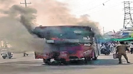 Bhopal: 35 have a close shave as BCLL bus catches fire