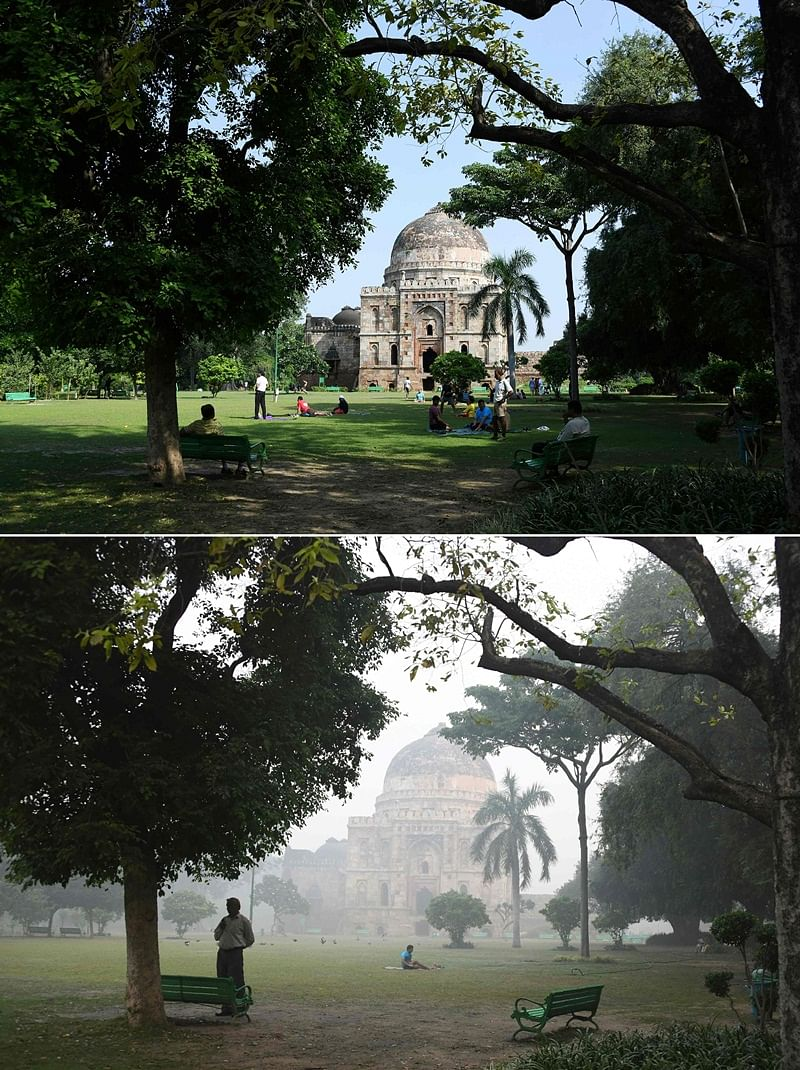 (COMBO) This combination of pictures created on November 2, 2018 shows (top) a Mughal-era tomb in Lodhi Gardens on a sunny day in New Delhi on September 15; and (bottom) the same tomb in Lodhi Gardens amid heavy smog conditions in New Delhi on October 30. – Smog levels spike during winter in Delhi, when air quality often eclipses the World Health Organization's safe levels. Cooler air traps pollutants — such as from vehicles, building sites, Diwali firecrackers and farmers burning crops in regions outside the Indian capital — close to the ground. (Photos by Dominique FAGET / AFP) / To go with INDIA-POLLUTION-RELIGION-COURT-FIRECRACKER text