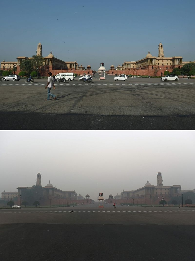 (COMBO) This combination of pictures created on November 2, 2018 shows Indian government department buildings in New Delhi on September 20; and (bottom) the same Indian government department buildings amid heavy smog conditions in New Delhi on November 2. – Smog levels spike during winter in Delhi, when air quality often eclipses the World Health Organization's safe levels. Cooler air traps pollutants — such as from vehicles, building sites, Diwali firecrackers and farmers burning crops in regions outside the Indian capital — close to the ground. (Photos by Money SHARMA / AFP) / To go with INDIA-POLLUTION-RELIGION-COURT-FIRECRACKER text