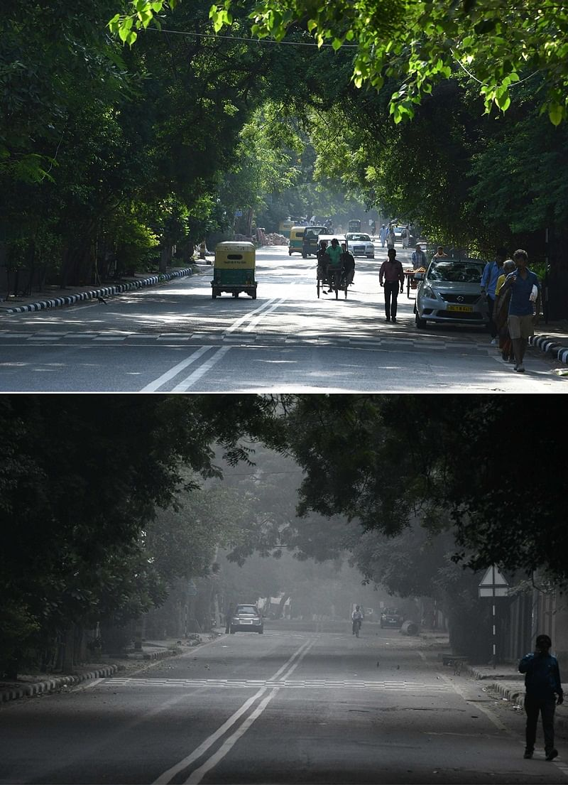 (COMBO) This combination of pictures created on November 2, 2018 shows (top) a street on a sunny day on September 14; the same street amid heavy smog conditions on October 30. – Smog levels spike during winter in Delhi, when air quality often eclipses the World Health Organization's safe levels. Cooler air traps pollutants — such as from vehicles, building sites, Diwali firecrackers and farmers burning crops in regions outside the Indian capital — close to the ground. (Photos by Dominique FAGET / AFP) / To go with INDIA-POLLUTION-RELIGION-COURT-FIRECRACKER text