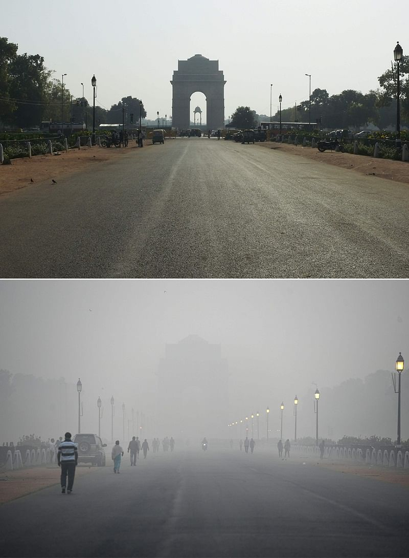 (COMBO) This combination of pictures created on November 2, 2018 shows the India Gate monument in New Delhi on September 19, 2018; and (bottom) India Gate amid heavy smog conditions in New Delhi on November 2. – Smog levels spike during winter in Delhi, when air quality often eclipses the World Health Organization's safe levels. Cooler air traps pollutants — such as from vehicles, building sites, Diwali firecrackers and farmers burning crops in regions outside the Indian capital — close to the ground. (Photos by Money SHARMA / AFP) / To go with INDIA-POLLUTION-RELIGION-COURT-FIRECRACKER text
