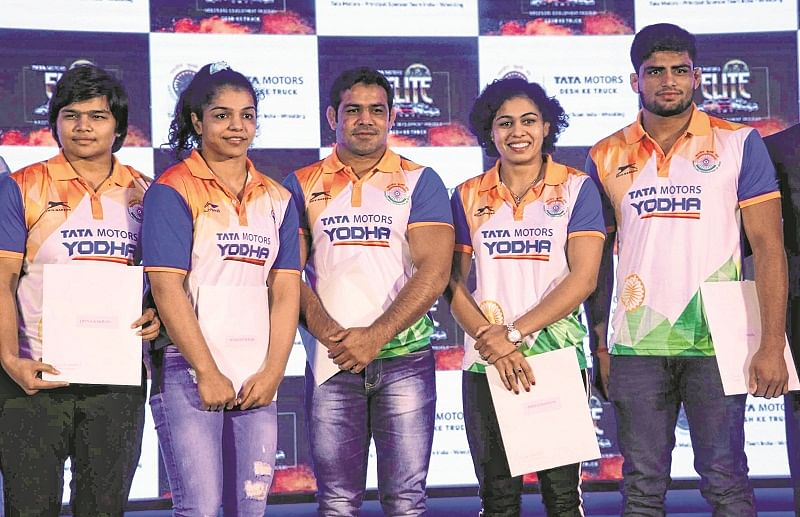 Mumbai: Tata Motors Elite Wrestlers Development Program to promote,encourage and develop rising Indian wrestlers like Sushil Kumar,Sakshi Malik, Pooja Dhanda, Divya Kakran and Sajna Bhanwal . Photo by BL SONI