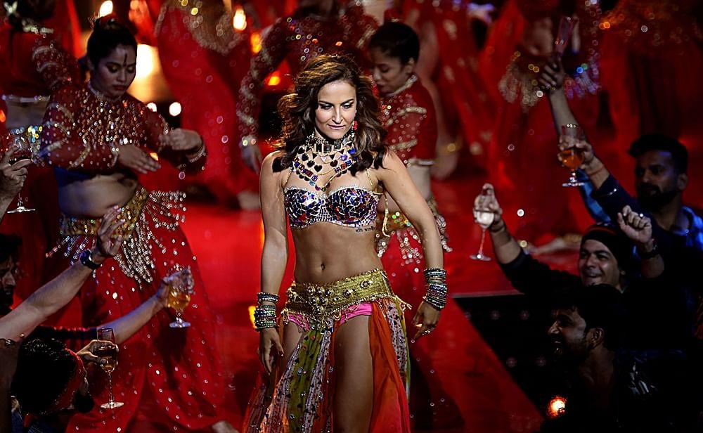 Indian Bollywood actress Elli Avram performs a song for the upcoming Hindi film 'Fraud Saiyyan' in Mumbai on November 20, 2018. (Photo by - / AFP)