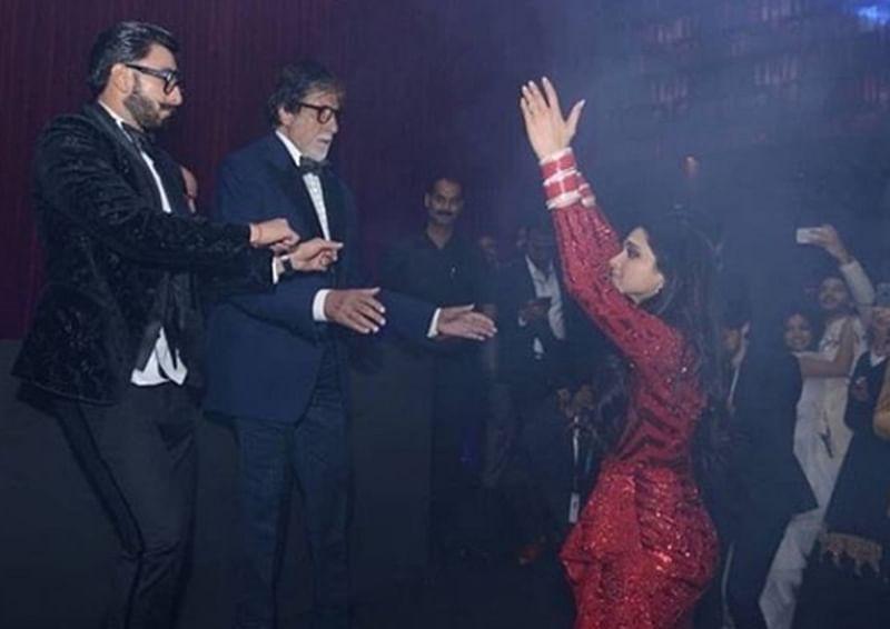 Hit It! Ranveer-Deepika join Amitabh, Shah Rukh in grooving to 'Jumma Chumma De De' and 'Chaiyya Chaiyya'; watch video
