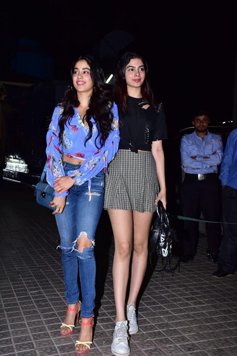 Janhvi Kapoor and Khushi Kapoor at Kedarnath special screening in Mumbai. /Photo by Viral Bhayani