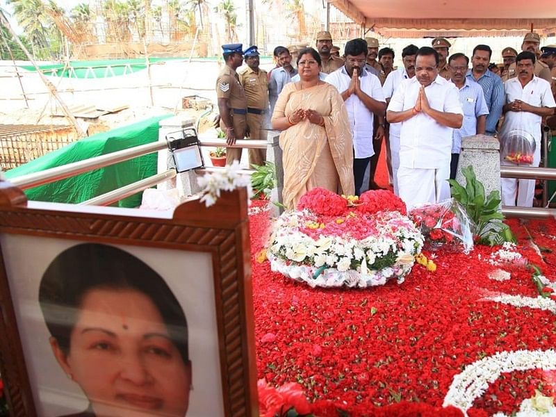 O Pannnerselvam, K Palaniswami, AIADMK leaders pay tributes to Jayalalithaa on her 2nd death anniversary