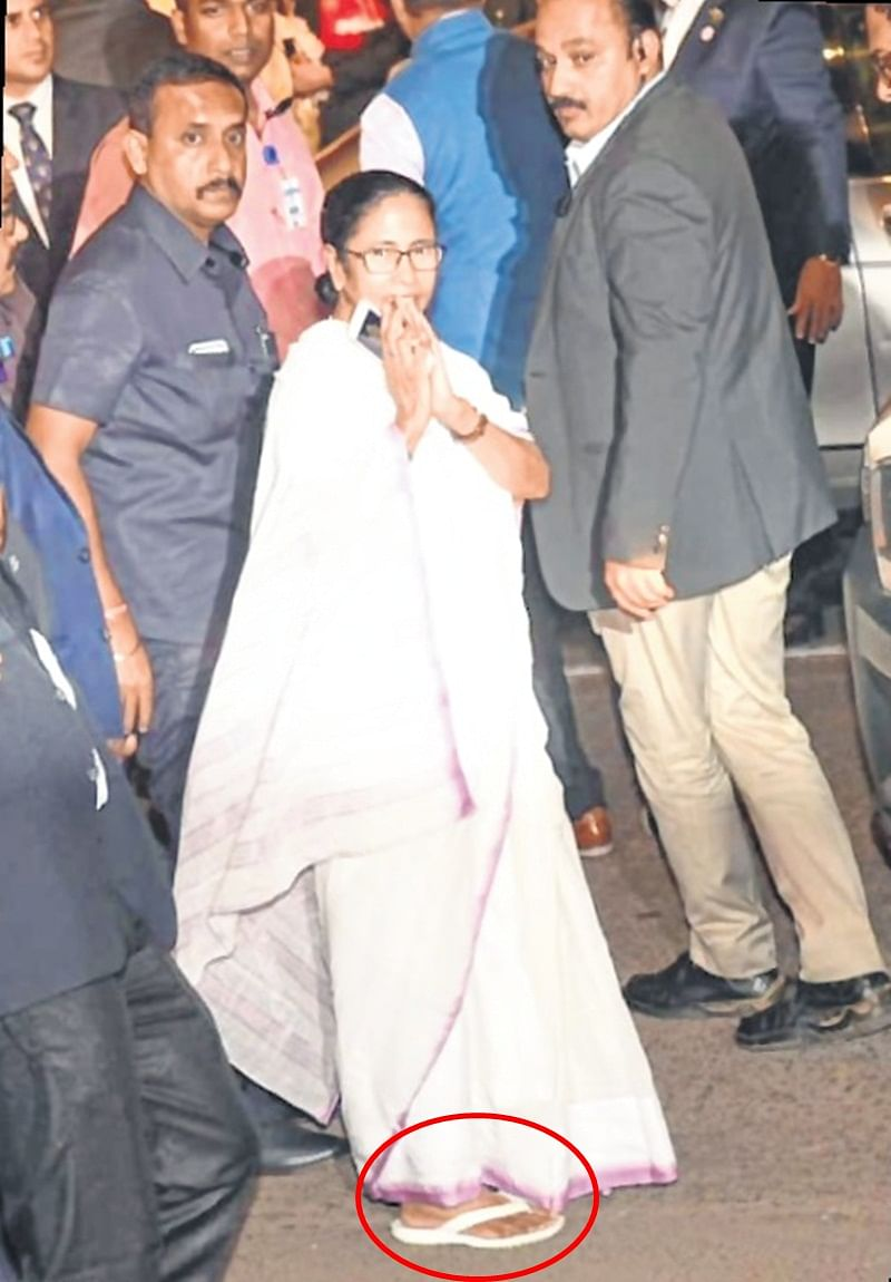 West Bengal CM Mamata Banerjee in flip-flops at Antilia for Isha-Anand wedding