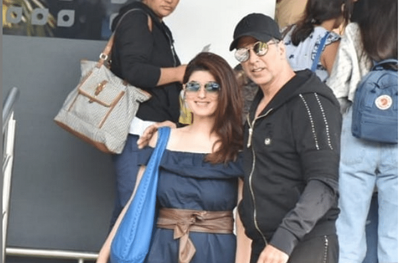 In Pics! Akshay Kumar off to family vacation; snapped at Mumbai airport with wife Twinkle Khanna