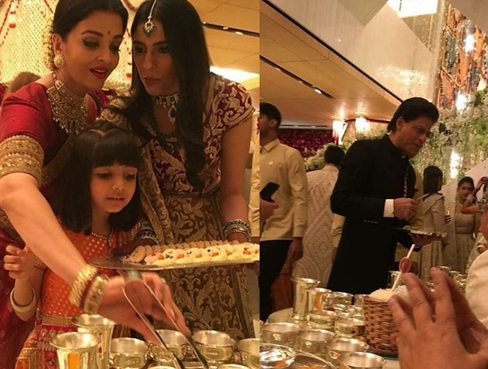 Aishwarya Rai Bachchan, Shah Rukh Khan serve food to guests at Isha Ambani's wedding; see pic