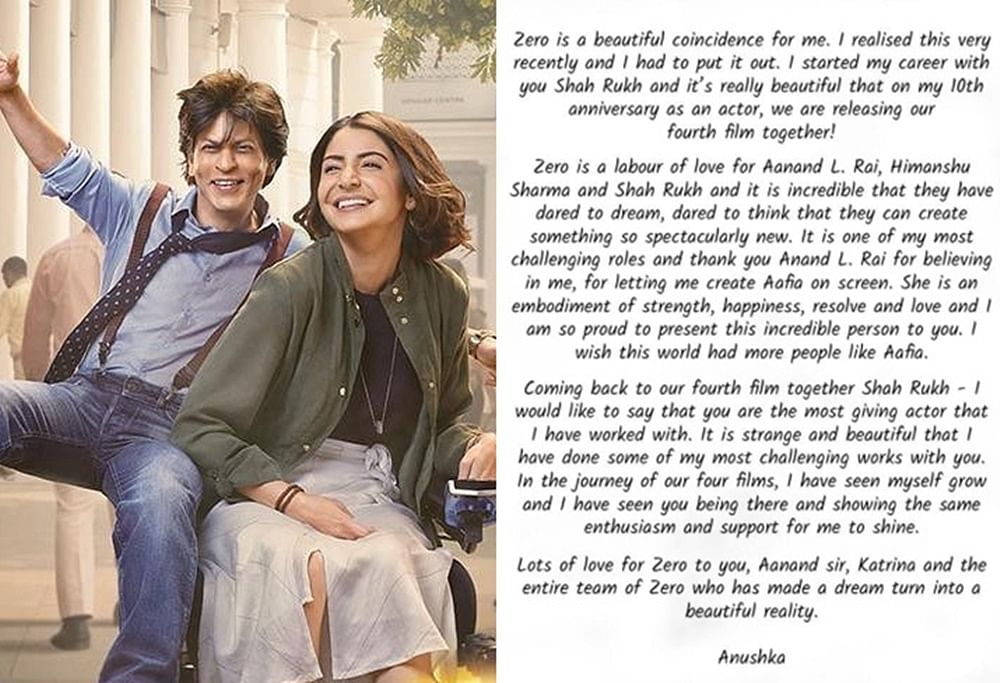 Anushka Sharma pens heartfelt note for Shah Rukh Khan on completing 10 years in Bollywood
