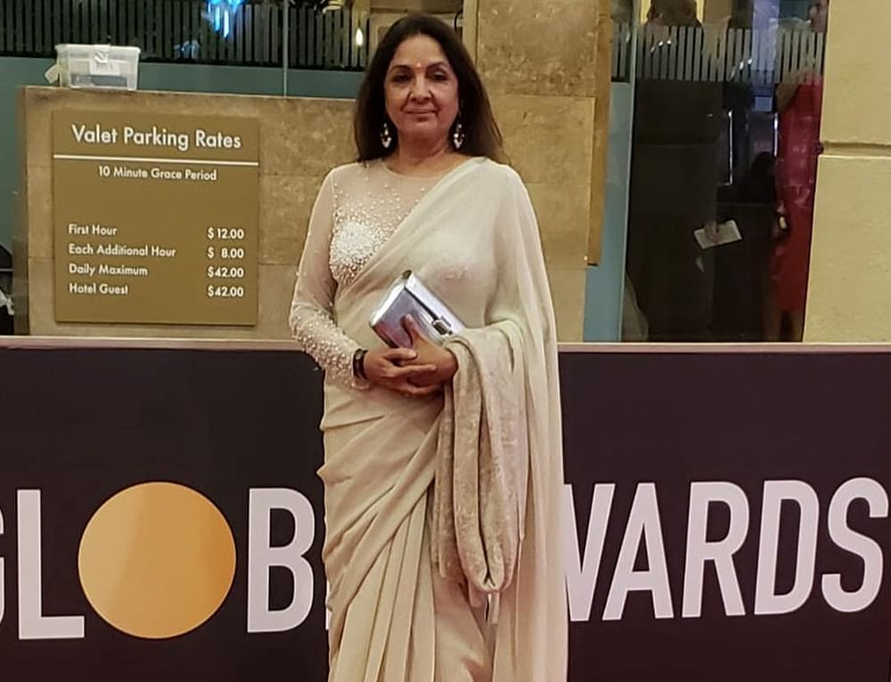 Neena Gupta looks splendid in a saree at the Golden Globes 2019 after party