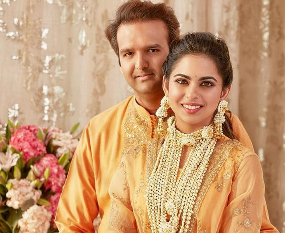 Unseen Pics! Isha Ambani, Anand Piramal twinning in Sabyasachi at their Haldi ceremony