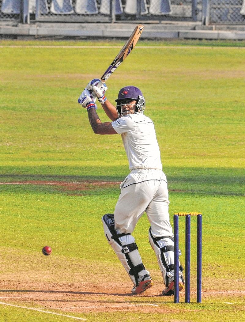 Mumbai: Mumbai batsman Jay Bista plays a shot during a match against Chhattisgath of  Ranji Trophy cricket match season 2018-19 at Wankhede Stadium, in Mumbai, Wednesday, Jan. 09, 2019. (PTI Photo)(PTI1_9_2019_000064B)