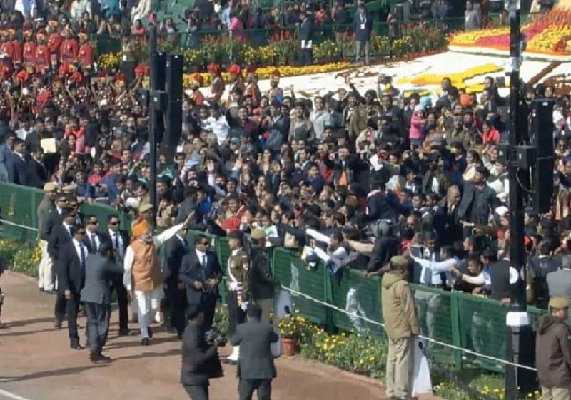 PM Modi breaks protocol on Republic Day, greets people while walking on Rajpath