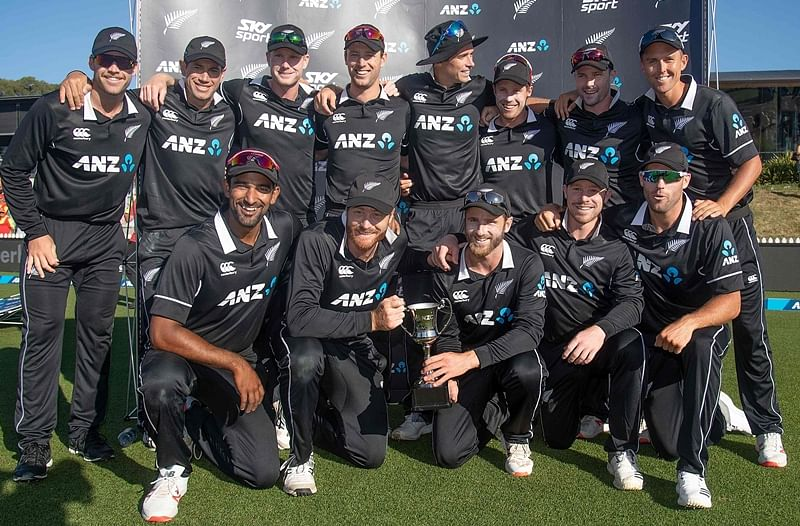 New Zealand's players pose for a photo after winning the ODI series against Sri Lanka after their third ODI cricket match at Saxton Field in Nelson. Photo by Marty MELVILLE / AFP