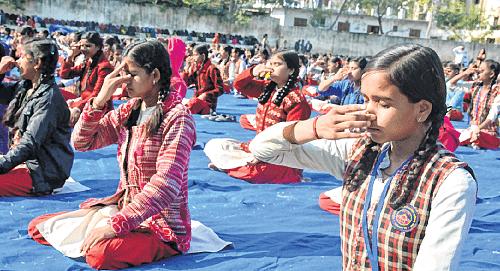 Bhopal: No hype & hoopla but Surya Namaskar today