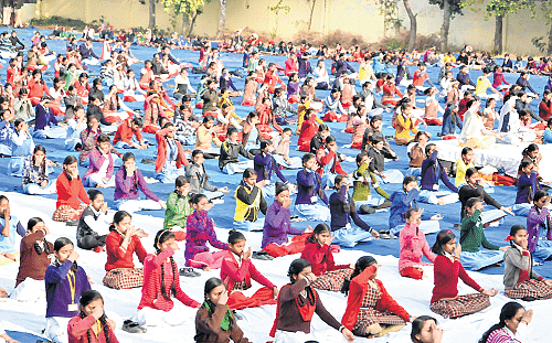 Bhopal: Surya Namaskar held in schools and colleges across state