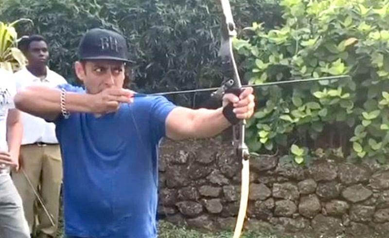 WATCH: Salman Khan shows off his archery skills; hits bullseye in this game