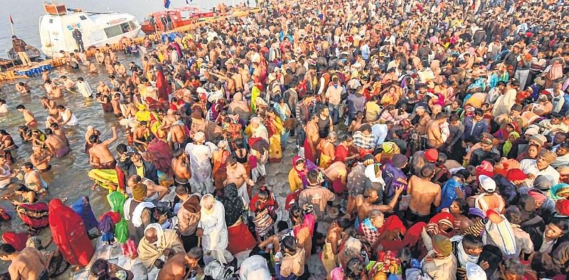 Over 1 crore devotees take dip in Ganga on Paush Purnima