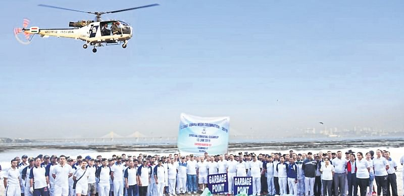 Mumbai: Indian Coast Guard conducts  coastal clean-up at Dadar beach