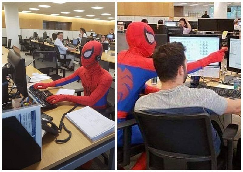 Watch Pictures and Video! Brazilian banker comes dressed as Spider-Man on his last day of work