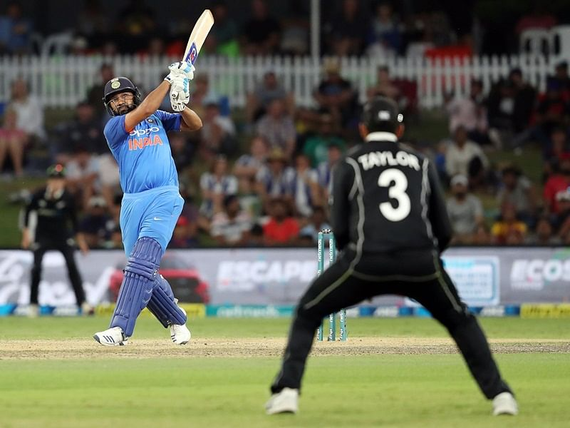 India's Rohit Sharma bats during the third one-day international cricket match between New Zealand and India at Bay Oval in Mount Maunganui on January 28, 2019. (Photo by MICHAEL BRADLEY / AFP)