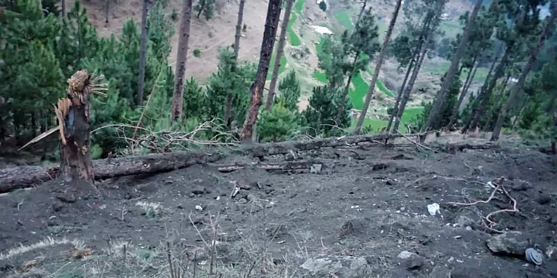 "In this handout photograph released by Pakistan's Inter Services Public Relations (ISPR) on February 26, 2019, a view of damage caused to trees in hilly terrain after Indian air force dropped their payload in Balakot area. - Indian planes briefly violated Pakistani airspace, the Pakistan military said on February 26, claiming it had repelled the incursion 12 days after a militant attack in disputed Kashmir sent tensions soaring between the nuclear-armed neighbours. (Photo by HANDOUT / ISPR / AFP) / -----EDITORS NOTE---- RESTRICTED TO EDITORIAL USE MANDATORY CREDIT ""AFP PHOTO / INTER SERVICES PUBLIC RELATIONS/ HO "" ---- NO MARKETING NO ADVERTISING CAMPAIGNS - DISTRIBUTED AS A SERVICE TO CLIENTS."