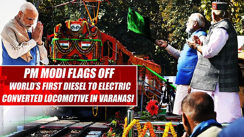 PM Modi Flags Off World's First Diesel To Electric Converted Locomotive In Varanasi