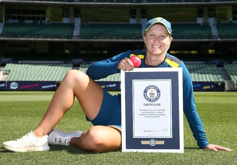 Watch: Australia's Alyssa Healy sets new Guinness World Record for highest catch of a cricket ball