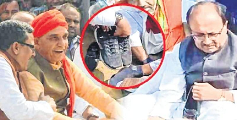 Sanskari BJP leaders keep shoes on at funeral