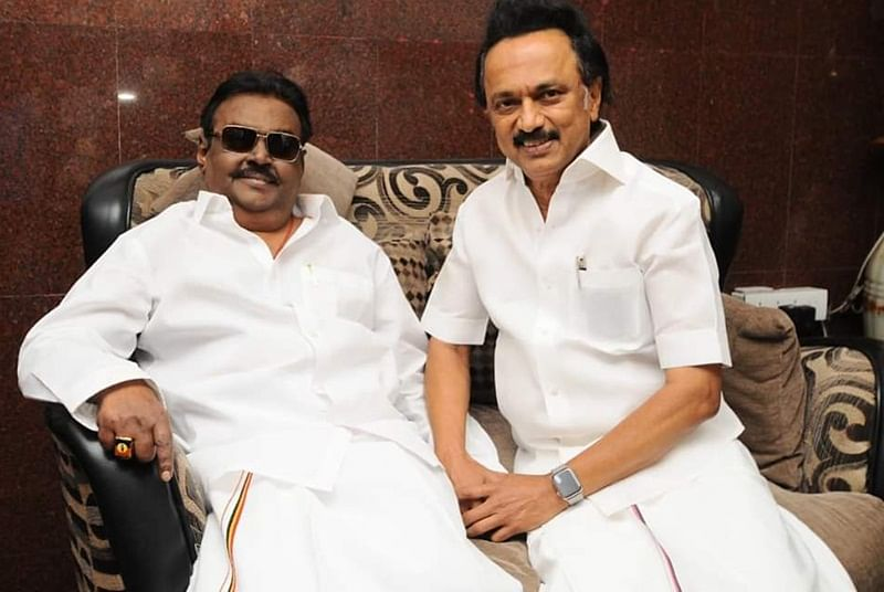 M K Stalin and Rajinikanth visit Vijayakanth who returned from the US after medical treatment