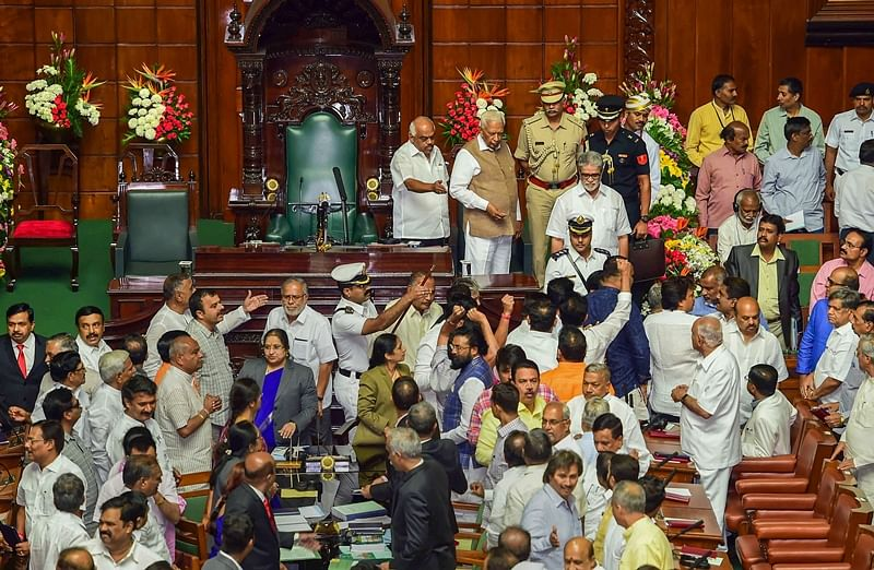 BJP MLAs continue to create ruckus in Karnataka assembly demanding judicial probe into audio tape