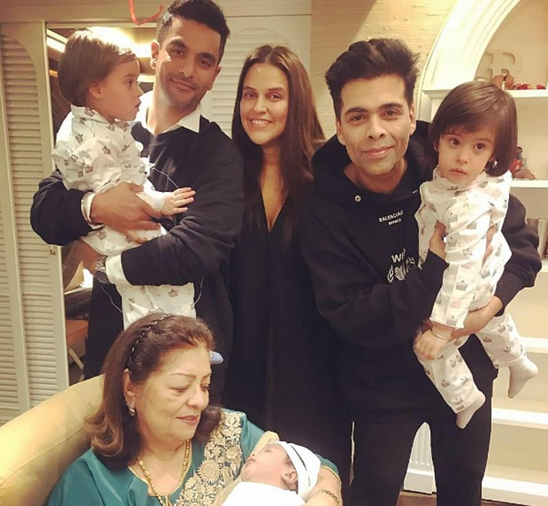 Karan Johar's twins Yash and Roohi turn two, Neha Dhupia shares a sweet photo of her daughter Mehr meeting them