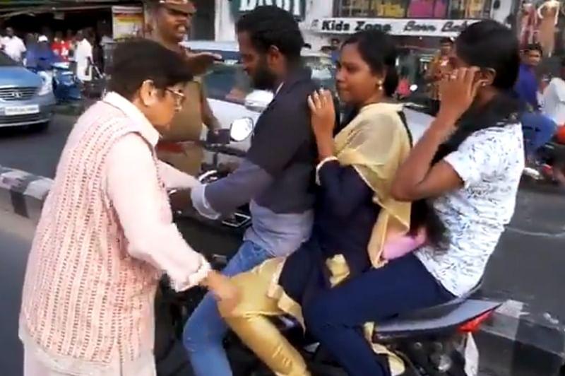 Kiran Bedi on Duty! Former IPS officer stops motorists, schools them for not wearing a helmet; watch