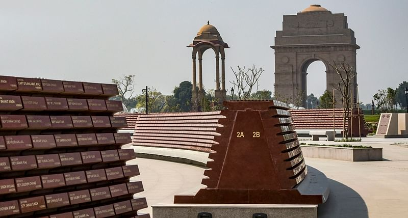 A wall with the names of the martyred soldiers displayed at the National War Memorial in New Delhi, Sunday, Feb 24, 2019. PTI Photo/Vijay Verma