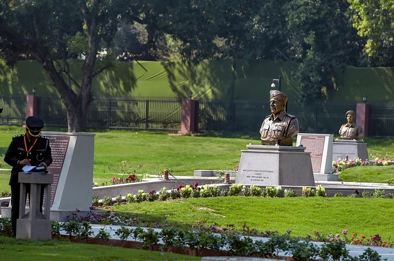Statues of the Paramvir Chakra awardees displayed at Param Yodha Sthal near the National War Memorial, in New Delhi, Sunday, Feb 24, 2019. PTI Photo/Vijay Verma