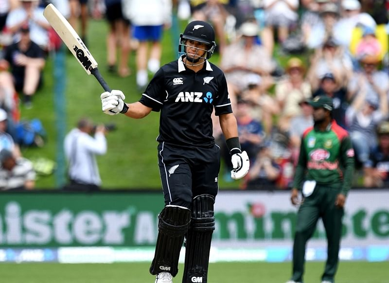 Ross Taylor celebrates scoring a half-century (50 runs) during the third one-day international cricket match between New Zealand and Bangladesh. Photo by Marty MELVILLE / AFP