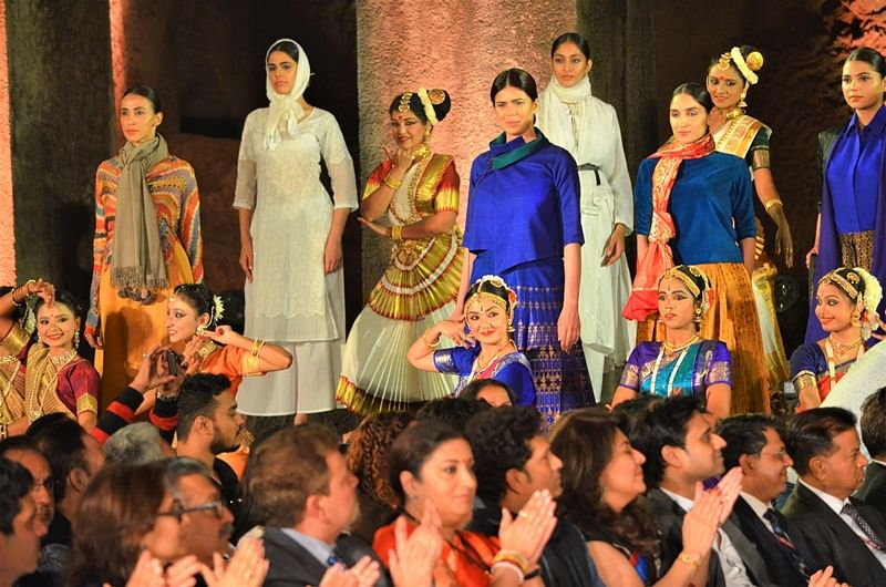 Models displaying their handloom wares at the fashion show
